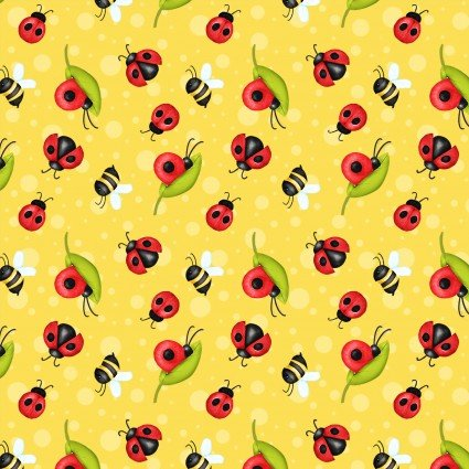 SPECIALTY FABRICS: Ladybugs, Snails, and Bees on Yellow:  Gnome is Where Your Garden Grows by Shelly Comiskey for Henry Glass