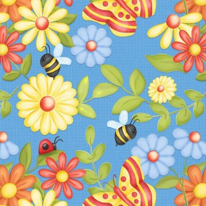 SPECIALTY FABRICS: Butterflies, Bees, Ladybugs and Flowers on Blue:  Gnome is Where Your Garden Grows by Shelly Comiskey for Henry Glass