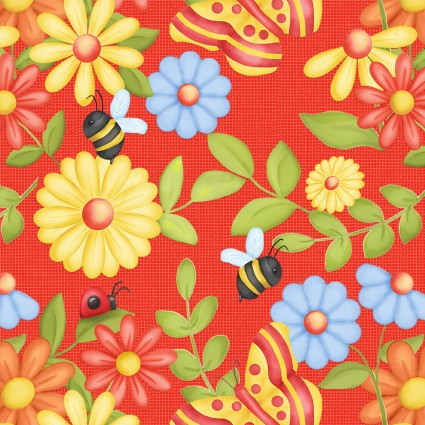 SPECIALTY FABRICS: Butterflies, Bees, Ladybugs and Flowers on Red:  Gnome is Where Your Garden Grows by Shelly Comiskey for Henry Glass