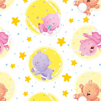 Henry Glass Wish Upon A Star Bears in Circles Cream Flannel