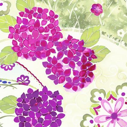 Ajisai - Purple flowers on white