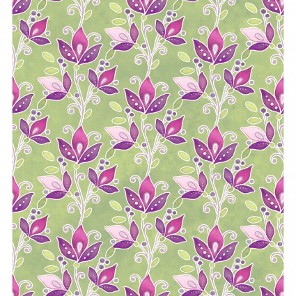 Ajisai- purple & pink flowers on green