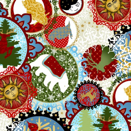 A Celestial Winter-Christmas themes in medallions on white
