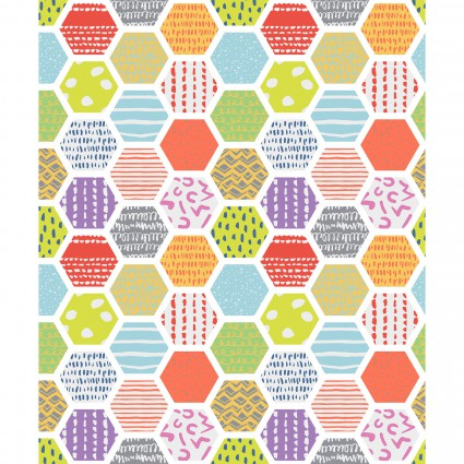 Doodle Blossoms - Hexagons - Multi 5db-1