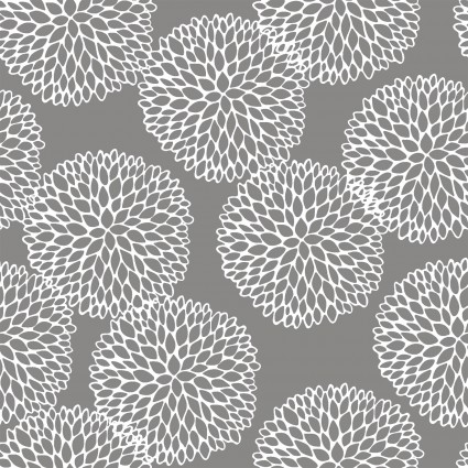 Doodle Blossoms - Chrysanthemums - Gray - 8 DB 1