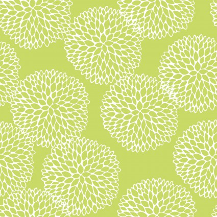Doodle Blossoms - Chrysanthemums - Lime  8db-2