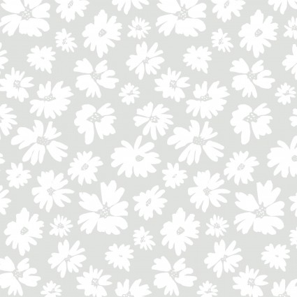 Doodle Blossoms - Wildflowers - Light Gray 9db-1