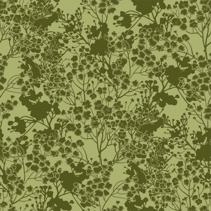 tonal floral in green