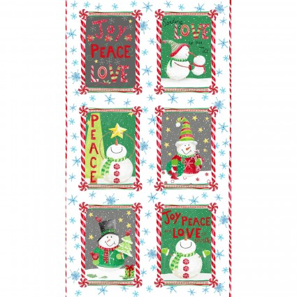 Joy, Peace & Love- Snowman Panel