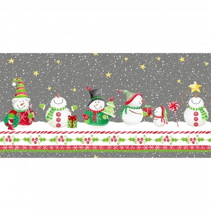 Joy, Peace & Love Snowmen Border Print