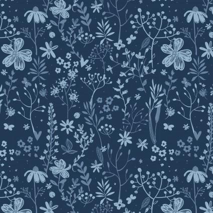 floral tonal blue