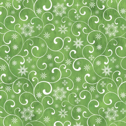 In The Beginning Poinsettia Winter 8APW-1 Green Swirl & Snowflake