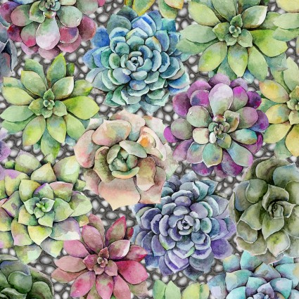 Succulents in Green, Purple, Blue, and Pink:  Terrarium by Jason Yenter for In The Beginning Fabrics