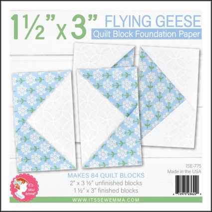 1-1/2 x 3 Flying Geese Quilt Block Foundation Paper