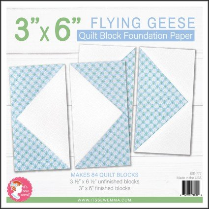 3 x 6 Flying Geese Quilt Block Foundation Paper
