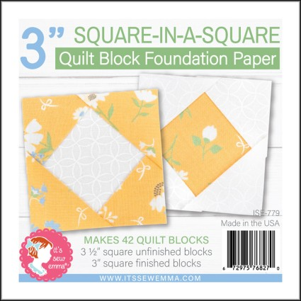 3 Square-in-a-Square Quilt Block Foundation Paper