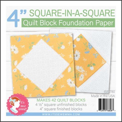4 Square-in-a-Square Quilt Block Foundation Paper