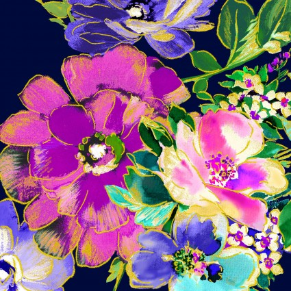 WATERCOLOR WISHES METALLIC - Bouquet Wishes Navy