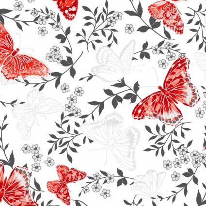 Poppy Promenade Butterfly White 7981P-09