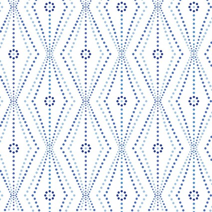 Blue Brilliance - Linear Daisy and Dots White