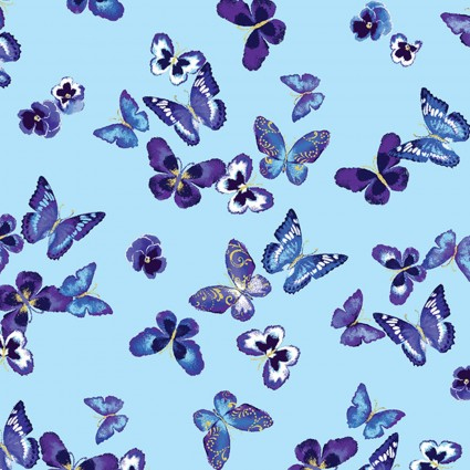 Butterfly Jewel Lt Turquoise Mini Butterfly & Pansy