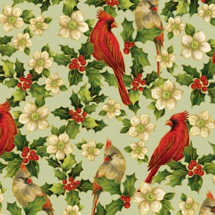 Ode To Joy - Elegant Cardinals /Sage