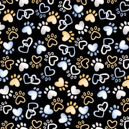 Think Pawsitive - Pawfect Paws on Black by Andi Metz