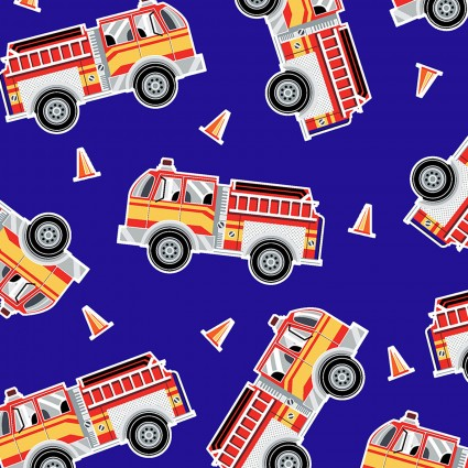 9737GL-55 Blue Fire Engines Save the Day Kanvas Benartex