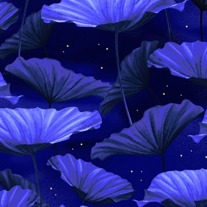 Moonlight Serenade Metallic Moonlit Lilypads Royal Blue