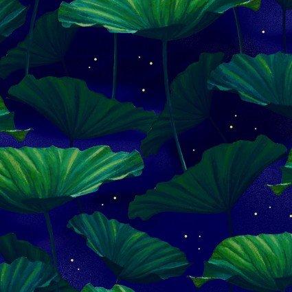 Moonlight Serenade Metallic Moonlit Lilypads Indigo/Emerald