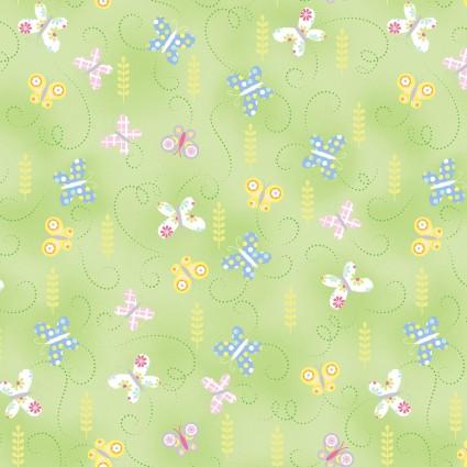 9763-04 Hippity Hoppity Springtime Butterflies Green