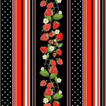 Kanvas Studio Strawberry Fields Forever 9771-12 Strawberry Stripe Black
