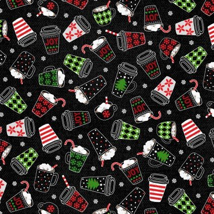 Keeping Cozy Hot Chocolate on Black Fabric by the yard