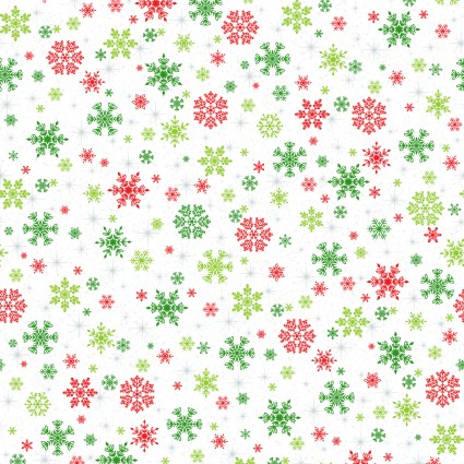 Keeping Cozy Colorful Snowflakes on White Fabric by the Yard
