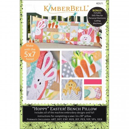 Hoppy Easter Bench Pillow Embroidery CD