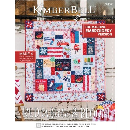 Pre-order KB Red, White & Bloom Quilt - Mach Emb CD