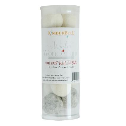 KimberBell: Winter Wonderland Wool Felt Balls - 18ct - various sizes - colors Buttermilk & Warm Grey