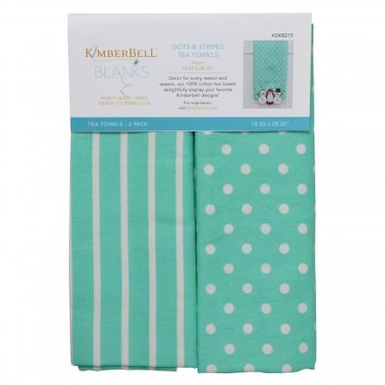 Kimberbell Dots & Stripes Tea Towels Aqua