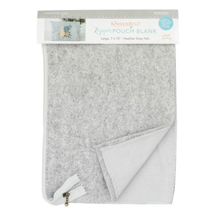 Lg Zipper Pouch Blank- grey