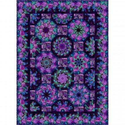 FGEKIT  Floragraphix V One Fabric Kaleidoscope Kit 65 x 87.5 Purple