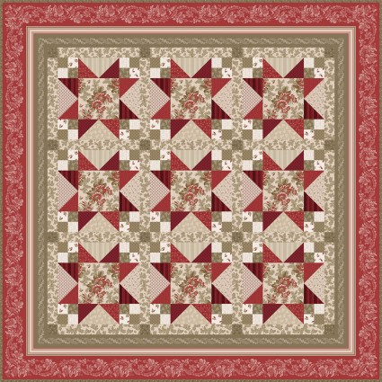 Ruby Quilt by Bonnie Sullivan 75' x 75 Kit, Includes Binding