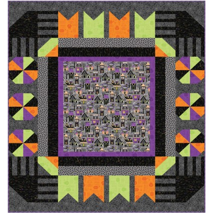 Hometown Halloween Town Square Quilt Kit by Maywood Studio