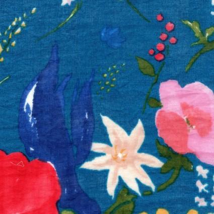 Nani Iro floral cerulean double gauze