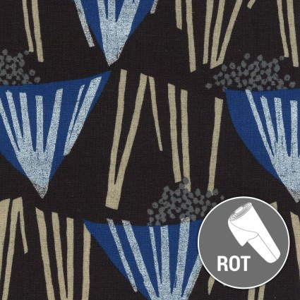 Bouquet Laminated Cotton/Black Blue: Echino (Kokka)