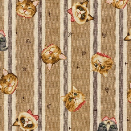 Cats on Stripes Cotton Linen Japanese Lightweight Canvas