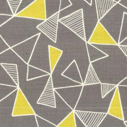 Kokka - Grey Bark Cloth w/ Yellow Triangle
