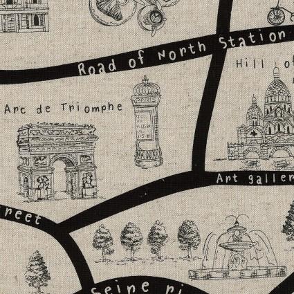 Travel Map/Natural (Canvas): Sewing Trip (Kokka)