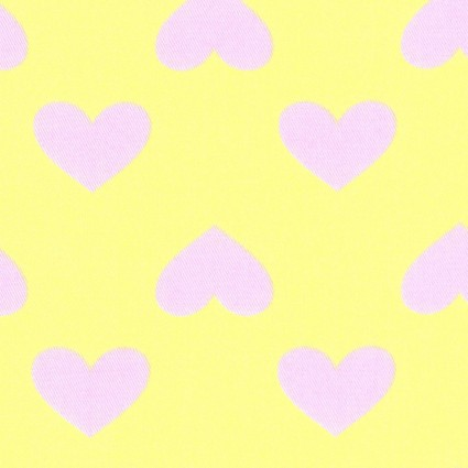 Teiban Hearts Cotton Twill - Pink on Yellow 43