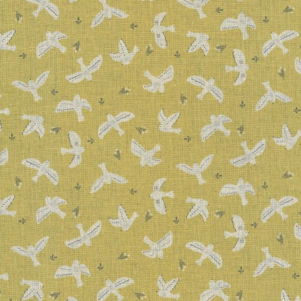 Birds on Sage Cotton/Linen Sheeting