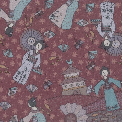 Dancing in the Blossom kimono lady on burgundy